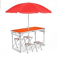 Усиленный складной стол + 4 стула +  зонт Оранж с красным