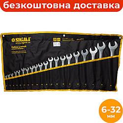 Набор комбинированных ключей 6-32 мм (20 ед.) Sigma 6010171, рожково-накидные ключи в чехле
