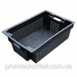 Ящик овощной 600х400х200 перфорированный черний