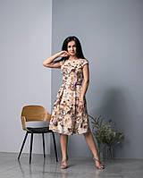 Легкое платье с бежевыми цветами, фото 1
