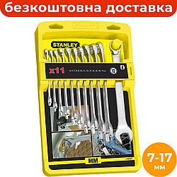Набор комбинированных ключей 7-17 мм (11 ед.) STANLEY 4-94-647, рожково-накидные ключи на холдере