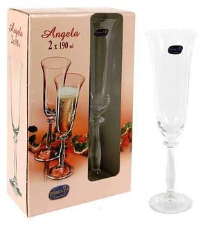 Бокалы свадебные для шампанського Bohemia Angela 40600/C5775/190/2 190 мл 2 шт, фото 2