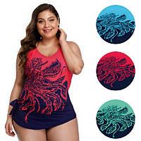 Купальник женский слитный больших размеров 54 - 64 имитация юбки Linda в расцветках
