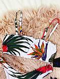Роздільний Купальник жіночий Білий з топом з сьемными бретелями на поролонових чашках і плавками бразильяна, фото 2