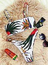 Роздільний Купальник жіночий Білий з топом з сьемными бретелями на поролонових чашках і плавками бразильяна