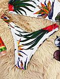 Роздільний Купальник жіночий Білий з топом з сьемными бретелями на поролонових чашках і плавками бразильяна, фото 3