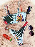 Роздільний Купальник жіночий Білий з топом з сьемными бретелями на поролонових чашках і плавками бразильяна, фото 6