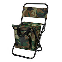 Складной стул для рыбалки, пикника, кемпинга, отдыха на природе с термосумкой (камуфляжный)