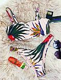 Роздільний Купальник жіночий Білий з топом з сьемными бретелями на поролонових чашках і плавками бразильяна, фото 7