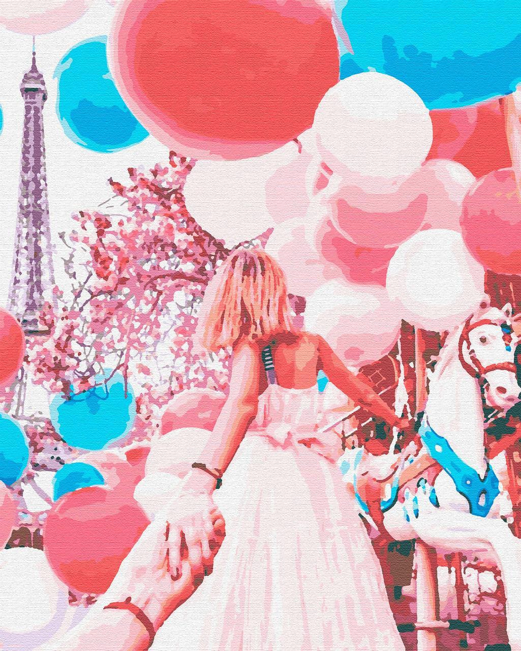 Картини за номерами подорожі люди дівчина париж 40х50 Парижська Карусель