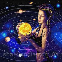 Картина по номерам (в коробке) Идейка Серия Зодиак Покоряя вселенную 50*50см KH9539 Космос планеты