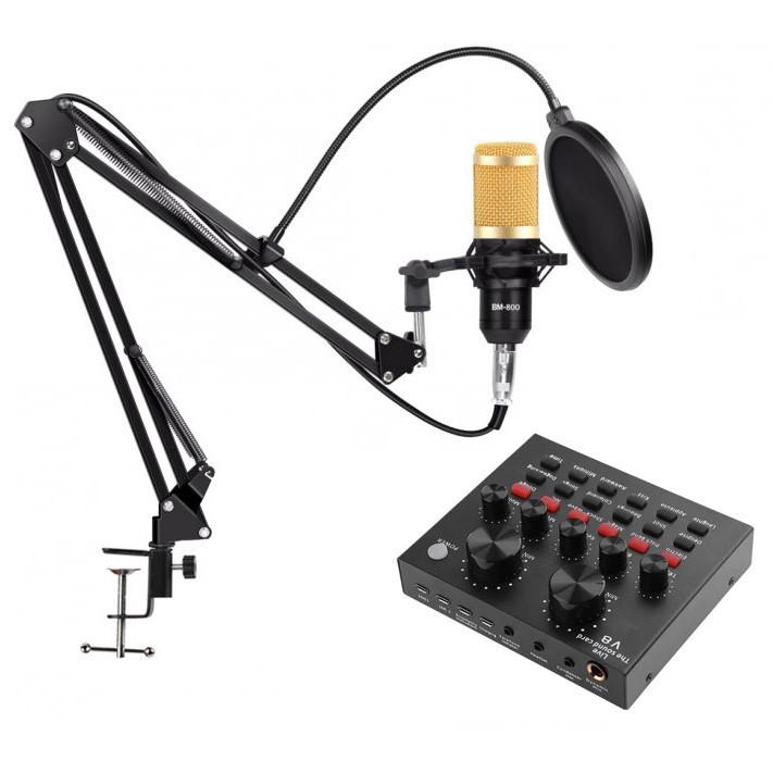 Микрофон конденсаторный BM800 звуковая карта  микшер с пантографом и аксессуарами