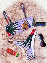 Купальник жіночий роздільний Ліловий топ зі сьемными бретелями на поролонових чашках і плавки бразильяна
