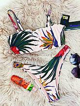 Купальник жіночий роздільний Персик топ зі сьемными бретелями на поролонових чашках і плавками бразильяна