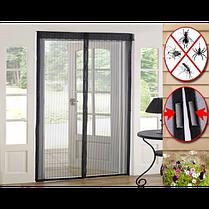 Москітна сітка на магнітах антимоскітна штора на двері Magic Mesh Чорна, фото 3