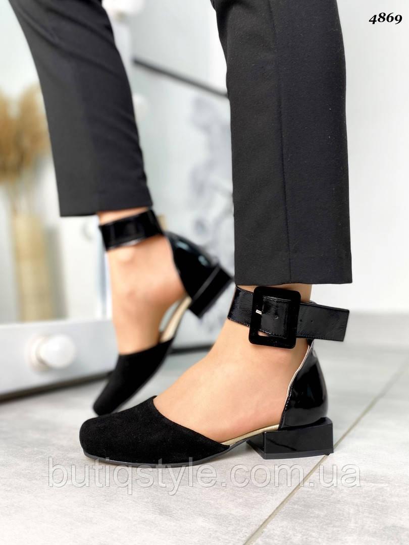 Жіночі чорні туфлі натуральна замша+лак