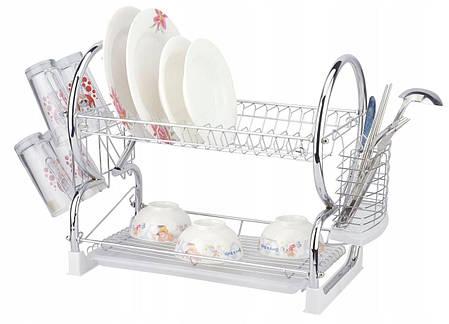 Настольная сушилка для посуды с поддоном сушка 2 яруса 56 см Edenberg EB-2112, фото 2