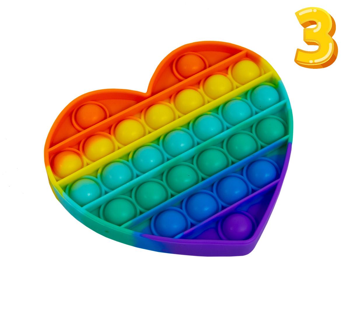 Іграшка Pop It Різнобарвна в формі Серця, 13.5х11.5 см №3, нескінченна пупирка антистрес | игрушка pop it