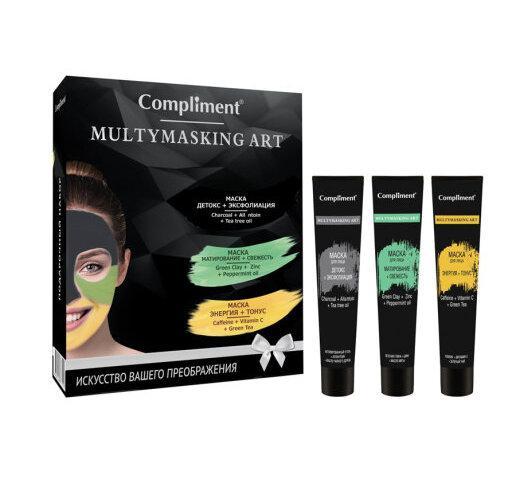 Подарочный набор маска детокс + эксфолиация, маска матирование + свежесть, маска энергия + свежесть Compliment