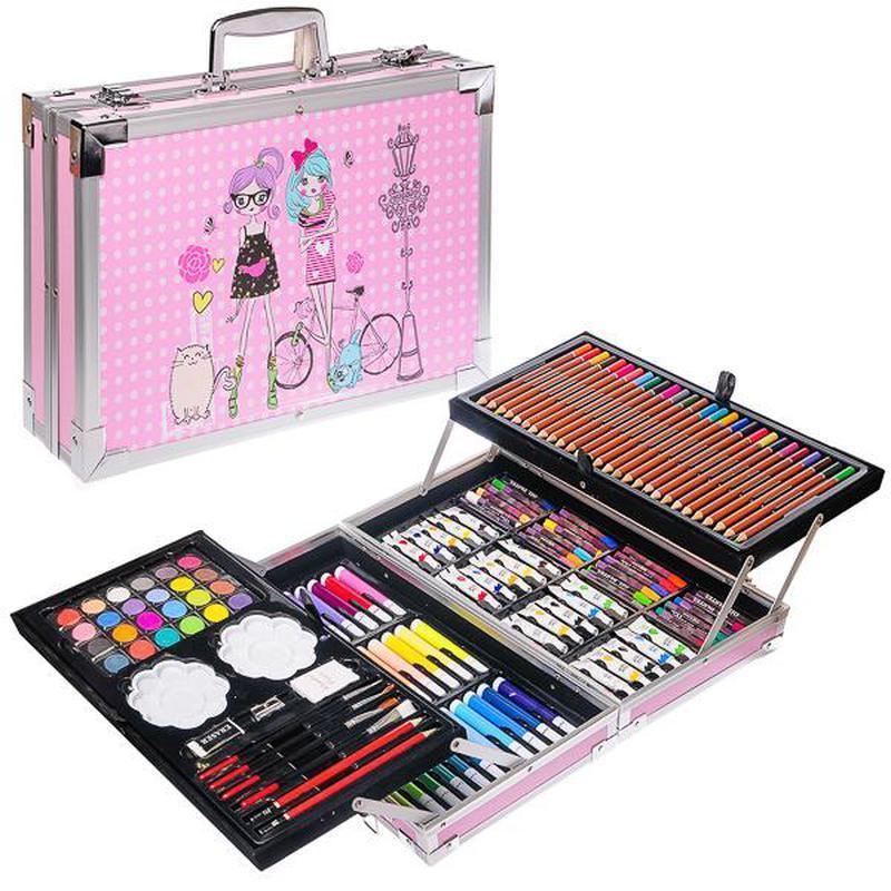 Художественный набор для рисования 145 предметов в алюминиевом чемоданчике РОЗОВЫЙ