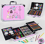 Художественный набор для рисования 145 предметов в алюминиевом чемоданчике РОЗОВЫЙ, фото 2