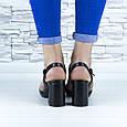 Босоніжки жіночі чорні на стійких підборах еко шкіра (b-687), фото 3