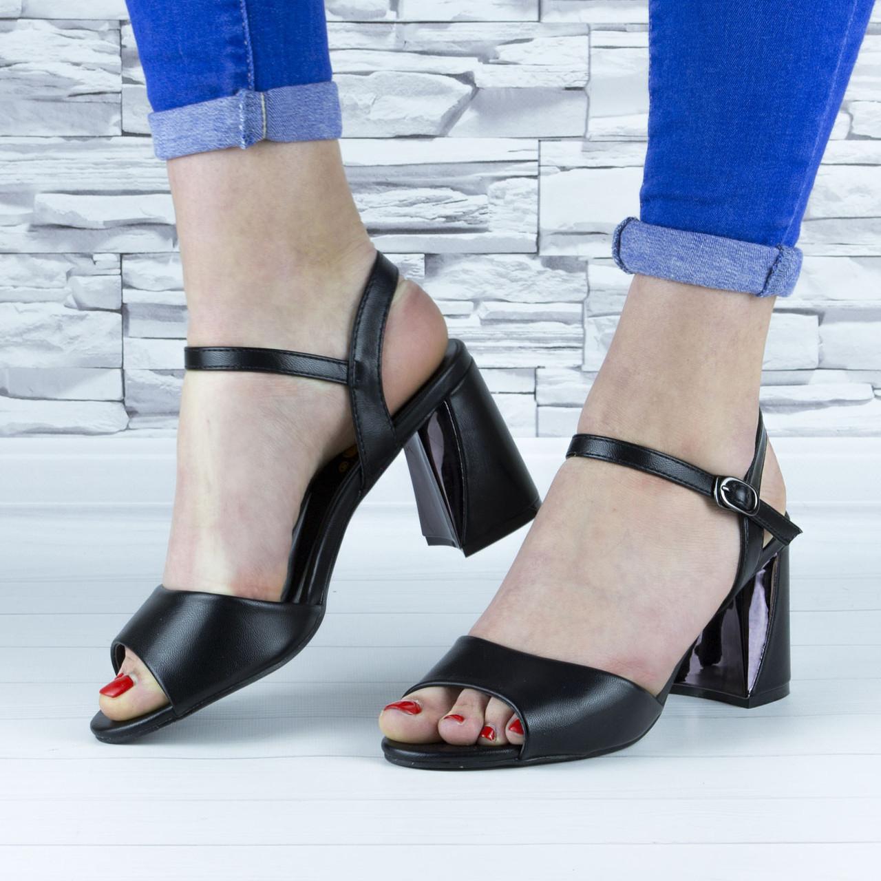 Босоножки женские черные на устойчивом каблуке эко кожа (b-687)