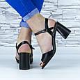 Босоножки женские черные на устойчивом каблуке эко кожа (b-687), фото 5
