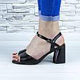 Босоножки женские черные на устойчивом каблуке эко кожа (b-687), фото 8