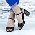 Босоножки женские черные на устойчивом каблуке эко кожа (b-687), фото 9