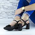 Босоножки женские черные на устойчивом каблуке эко кожа (b-687), фото 7