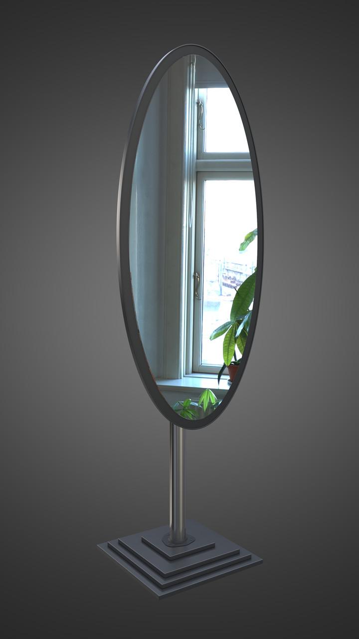 Овальное напольное зеркало, черное
