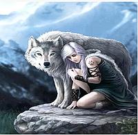 Алмазна картина розмальовка за номерами 40*50 см Вовк і дівчина
