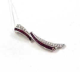 Подвеска золотая с бриллиантами и рубинами КР0517R