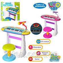 Детское пианино-синтезатор BB383BD на ножках со стульчиком и микрофоном.