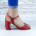 Босоножки женские красные на устойчивом каблуке эко кожа (b-688), фото 2