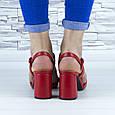 Босоніжки жіночі червоні на стійких підборах еко шкіра (b-688), фото 3