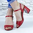 Босоножки женские красные на устойчивом каблуке эко кожа (b-688), фото 5
