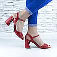 Босоножки женские красные на устойчивом каблуке эко кожа (b-688), фото 7