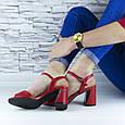 Босоножки женские красные на устойчивом каблуке эко кожа (b-688), фото 6