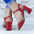 Босоніжки жіночі червоні на стійких підборах еко шкіра (b-688), фото 4