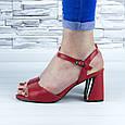 Босоніжки жіночі червоні на стійких підборах еко шкіра (b-688), фото 8