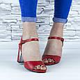 Босоніжки жіночі червоні на стійких підборах еко шкіра (b-688), фото 9