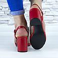 Босоножки женские красные на устойчивом каблуке эко кожа (b-688), фото 10