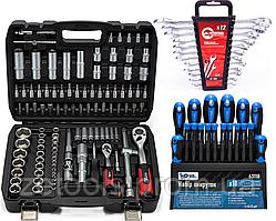 Набор инструментов 108 ед. 1/2'',1/4'' (6-гр.)(4-32 мм) PROFLINE + отвертки 18 ед+ Ключи комбинированные 12 шт