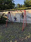 Качели детские для улицы двухместные с гладиаторской сеткой, фото 6