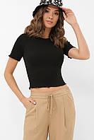 Короткая черная женская футболка (топ)