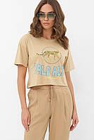 Бежевая короткая женская футболка с принтом