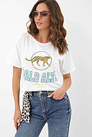 Белая короткая женская футболка с принтом