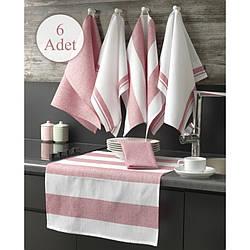 Набор кухонных салфеток Eponj Home - Pembe розовый 60*45 (6 шт)